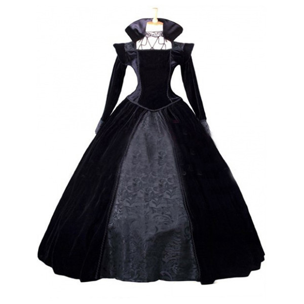 ecca365706026 女王様ドレス ベロア 黒 ハロウィン衣装 ヴィラン風