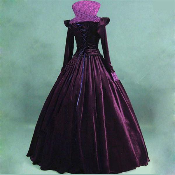 b8425cb93d65f 女王様ドレス ベロア パープル ハロウィン衣装 ヴィラン風