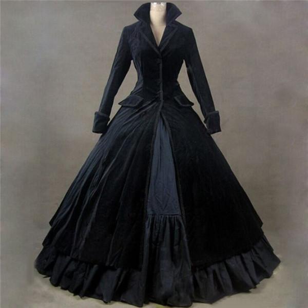 e3550f2ff06d8 ロングコート風ドレス ブラック ベロア ヴィラン風