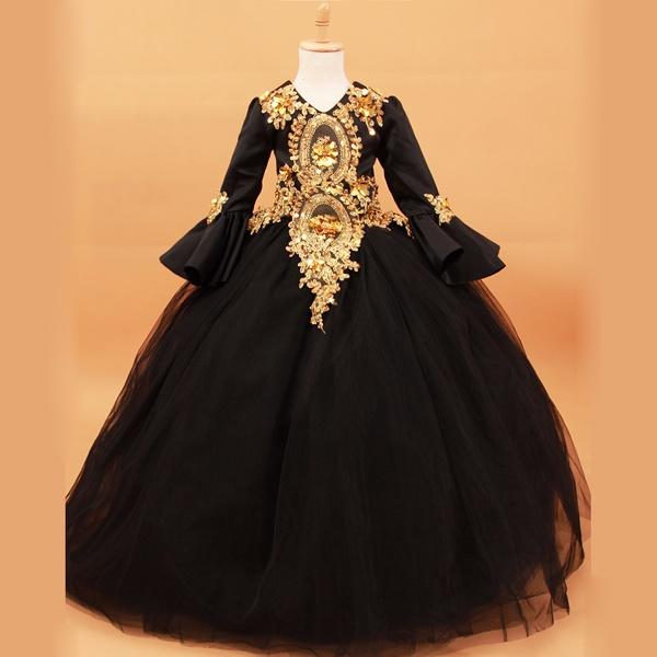 83f4733a10c54 豪華キッズドレス 貴族風ドレス ブラック