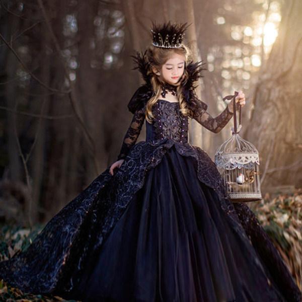 女王風 エレガントブラックドレス キッズサイズ