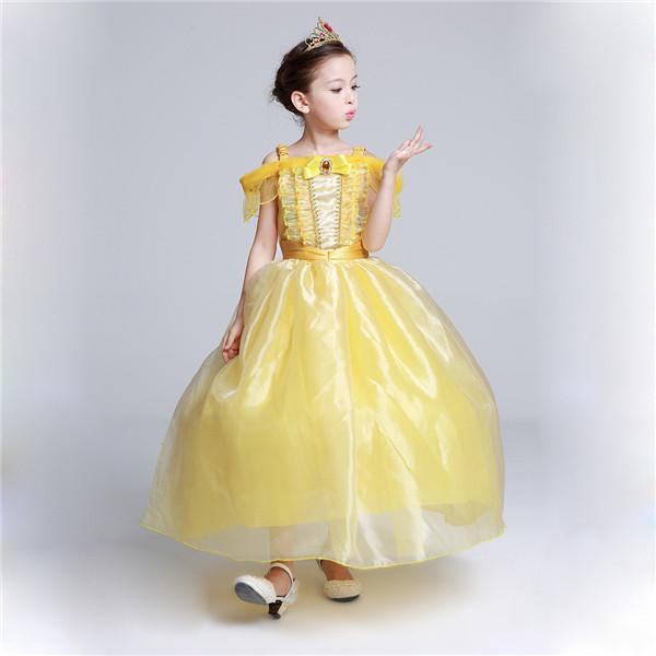 e06cb6a9c2a7d ハロウィン グリム童話 子供衣装 お姫様 ワンピース イエロー ワンピース コスチューム 天使 女の子 膝丈ドレス ロング