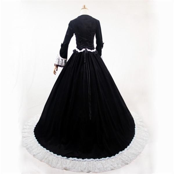 74c909b336892 貴族風ドレス ロングドレス ベロア 黒