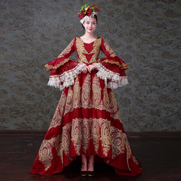 2e876000860a2 貴族風ドレス ロングドレス フィッシュテール 赤